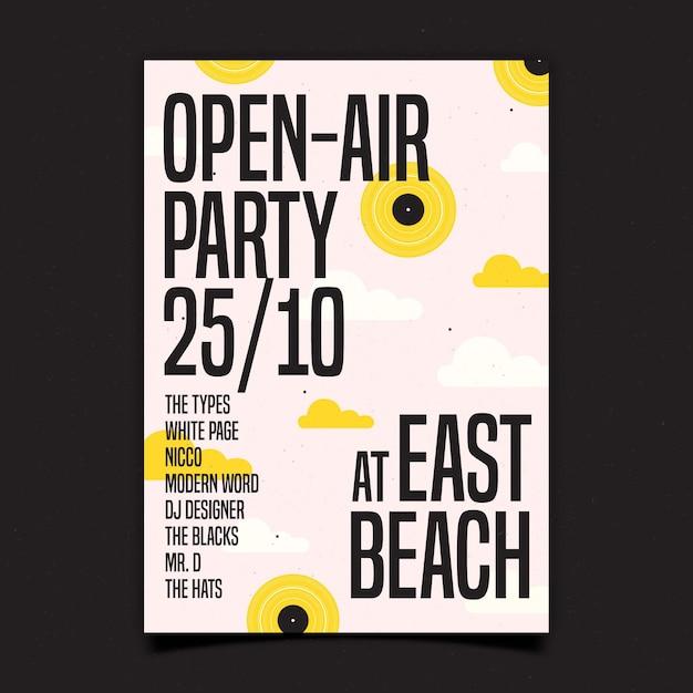 Open lucht partij poster Gratis Vector