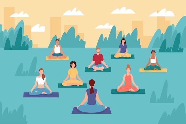 Open lucht yoga klasse illustratie Gratis Vector