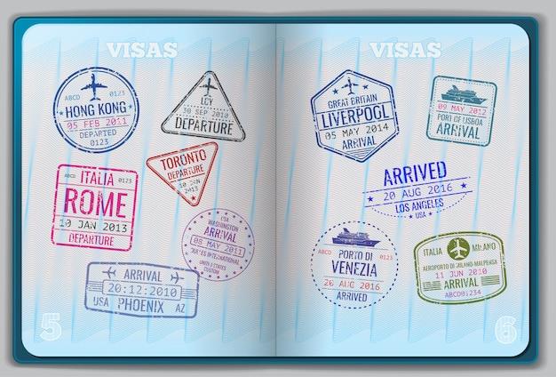 Open paspoort voor buitenlandse reizen Premium Vector