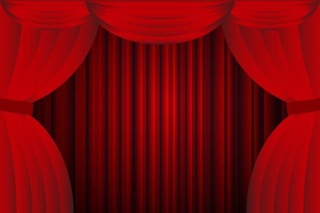 open rode gordijnen met opera of theaterachtergrond premium vector