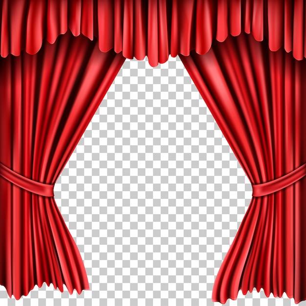 Open rode zijden gordijnen Gratis Vector
