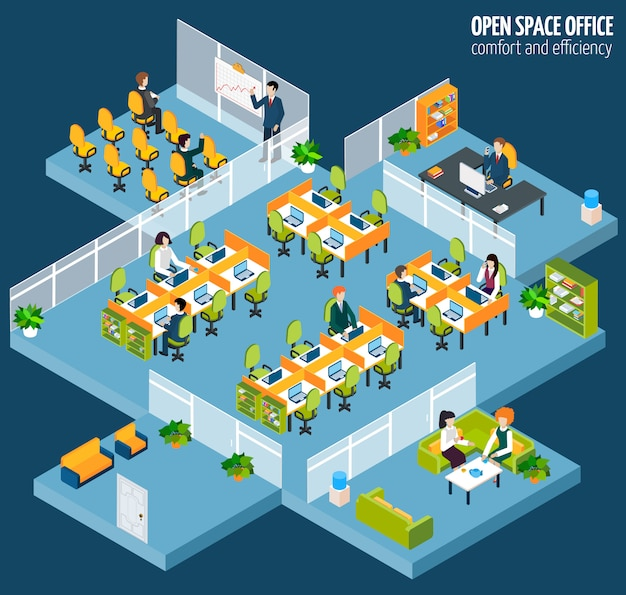 Open space office Gratis Vector