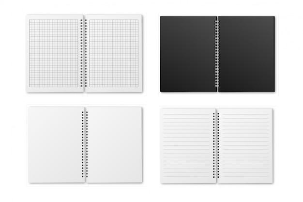 Open spiraalvormige a4-notitieboekjesset Premium Vector