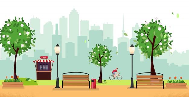 Openbaar park in de stad met straat cafe en gebouwen Premium Vector