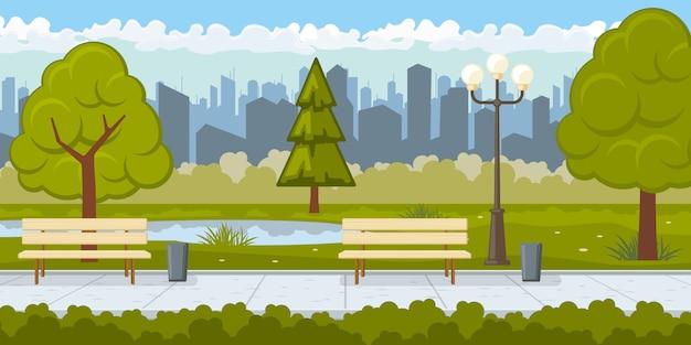 Openbaar park met de illustratie van de asfaltweg Gratis Vector