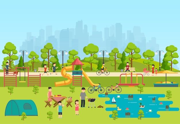 Openbaar park met een speeltuin en een meer, kamperen in park. Premium Vector