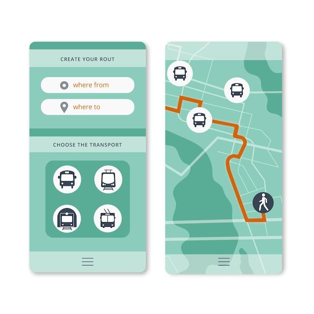 Openbaar vervoer app-interface Gratis Vector