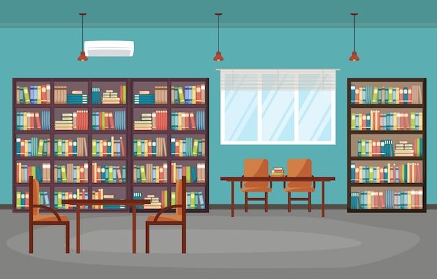 Openbare bibliotheek interieur stapel boeken op boekenplank plat Premium Vector