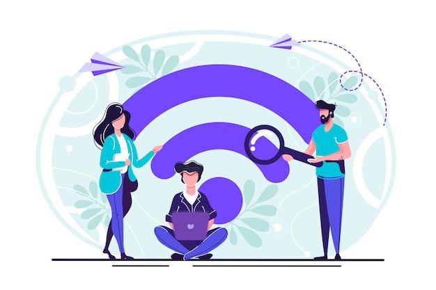 Openbare gratis draadloze verbinding Premium Vector