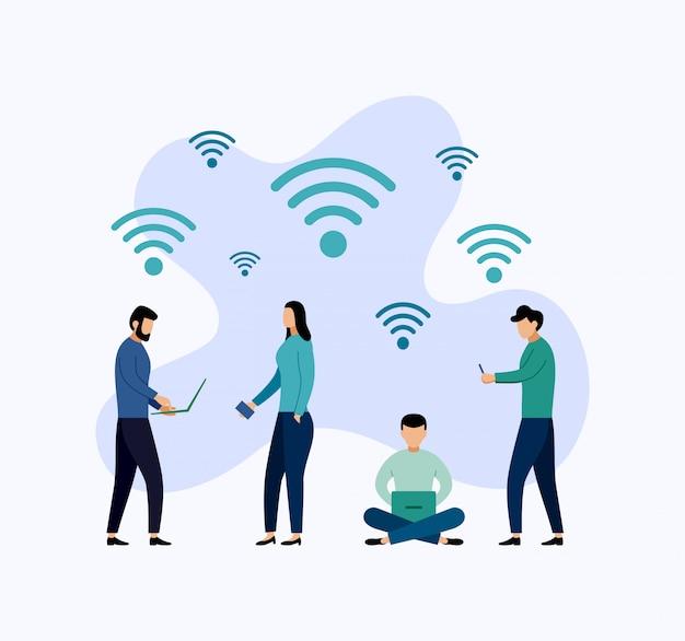 Openbare gratis wifi hotspot zone draadloze verbinding, business concept illustratie Premium Vector