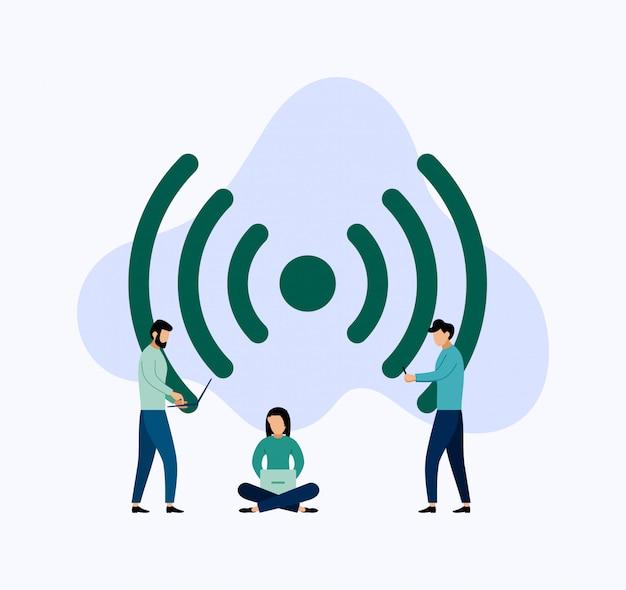 Openbare gratis wifi hotspot zone draadloze verbinding, zakelijke illustratie Premium Vector