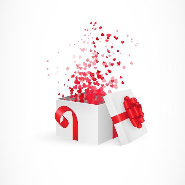Opening geschenkdoos voor valentijnsdag Gratis Vector