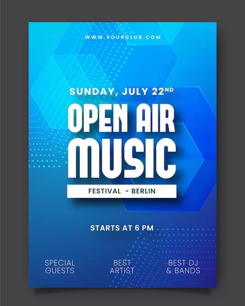 Openlucht muziekfestival poster Gratis Vector