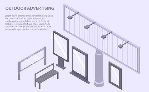 Openlucht reclamebanner, isometrische stijl Premium Vector