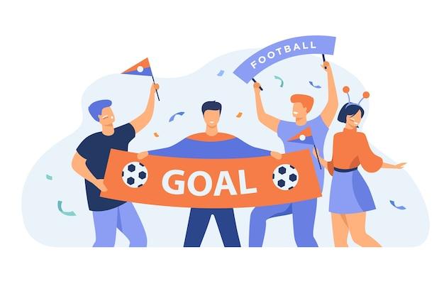 Openluchtvoetbalfans die grote banner met doel geïsoleerde vlakke vectorillustratie houden. cartoon groep actieve mensen juichen voor voetbalteam. sportspel en viering concept Gratis Vector