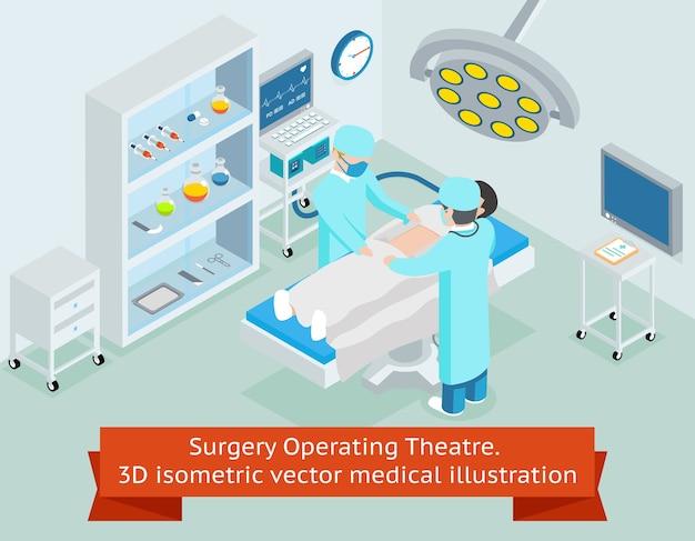 Operatiekamer chirurgie. 3d isometrische medische. procedure in het ziekenhuis, chirurg arts, steriele operatie, chirurgische gezondheidszorg Gratis Vector