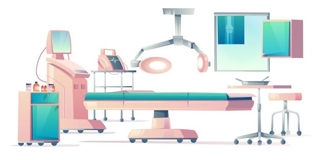 Operatiekamer, medische apparatuur in werking stellen Gratis Vector