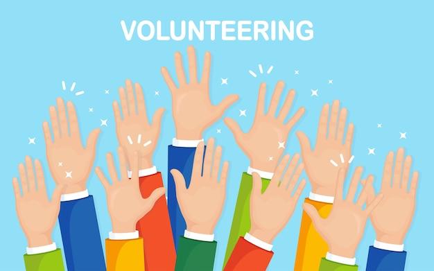 Opgeheven handen op achtergrond. vrijwilligerswerk, liefdadigheid, bloed doneren concept. bedankt voor de zorg. stem van de menigte. Premium Vector