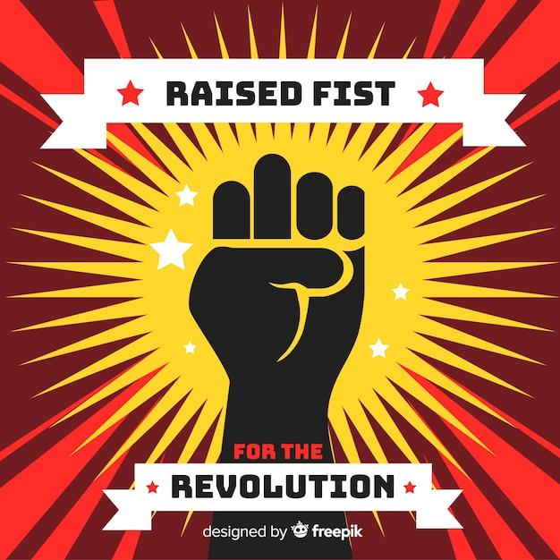 Opgeheven vuist voor revolutie Gratis Vector