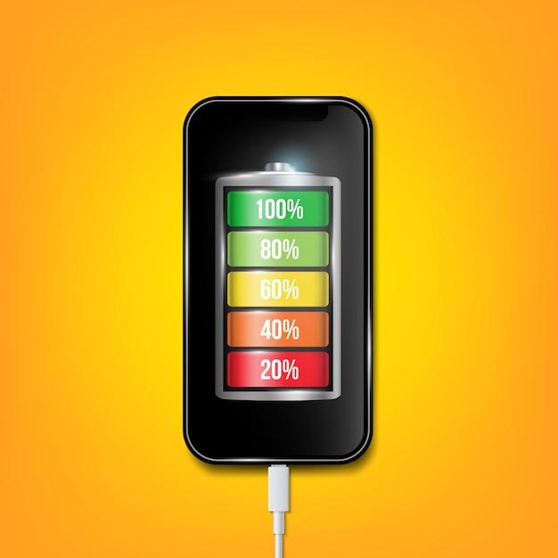 Opgeladen batterij telefoon, mobiele telefoon usb-stekkers kabel. Premium Vector