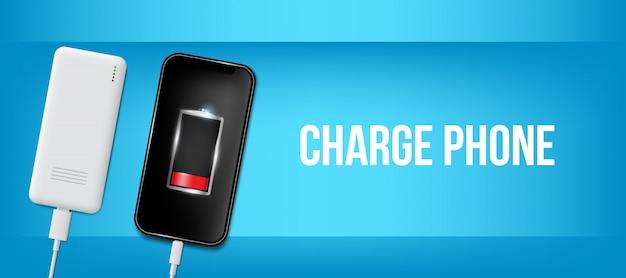 Opgeladen batterij telefoon, usb-plugs kabel kabel. Premium Vector