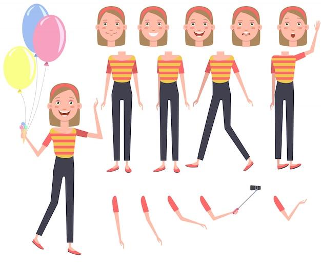 Opgewonden mooi meisje met hoop van kleurrijke ballonnen tekenset Gratis Vector