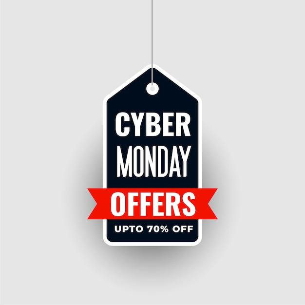 Opknoping cyber maandag speciale verkoopaanbieding tag Gratis Vector