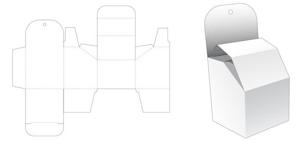 Opknoping gat afgeschuinde verpakking gestanst sjabloon Premium Vector