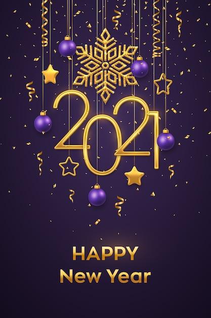 Opknoping gouden metalen nummers 2021 met glanzende sneeuwvlok, 3d metalen sterren, ballen en confetti op paarse achtergrond Premium Vector