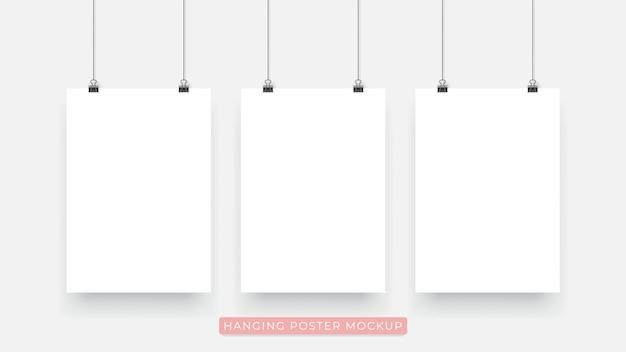 Opknoping realistische 3d-poster mockup Premium Vector