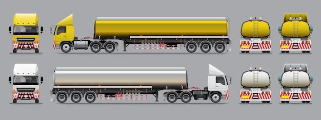 Oplegger tankwagen sjabloon gele en witte kleurtoon. Premium Vector