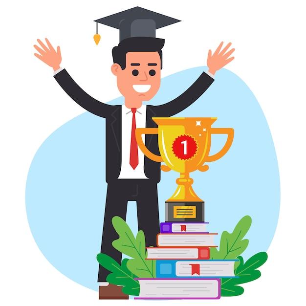 Opleiding. diploma uitreiking. win de wedstrijd. vlakke afbeelding van vector teken. Premium Vector