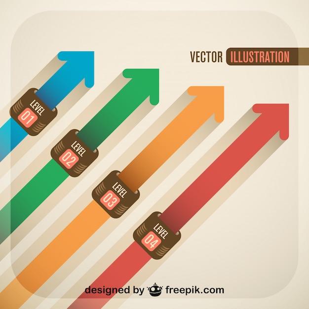 Oplopend pijlontwerp Gratis Vector