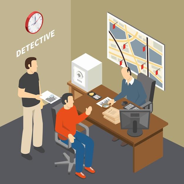 Oplossing misdaadonderzoeker verzamelen van informatie praten om te getuigen in wetshandhavingsinstantie detectives office isometrisch Gratis Vector