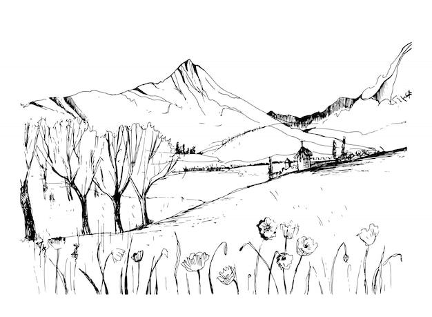Opmerkelijke georgische landschapsschets. zwart-wit hand getrokken schets vectorillustratie. Premium Vector