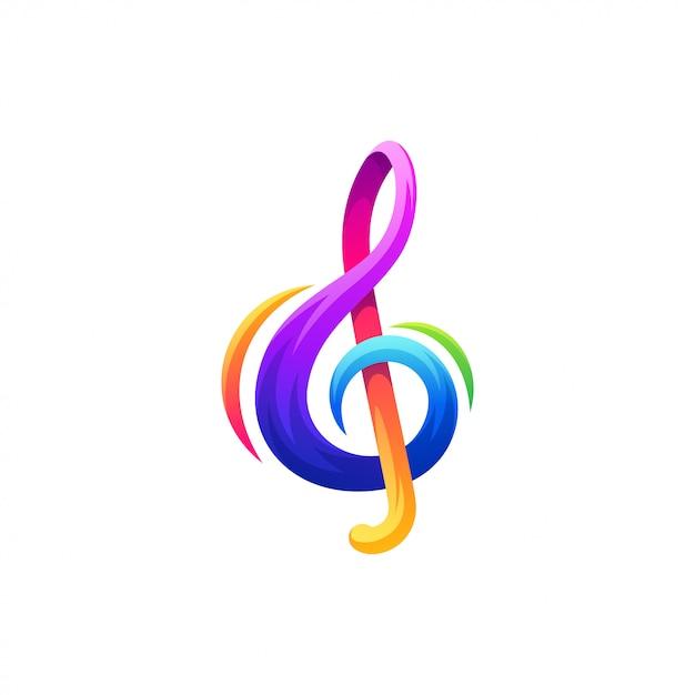 Opmerking muziek logo ontwerp Premium Vector