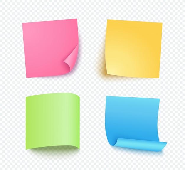 Opmerking vel papier ingesteld met verschillende schaduw. gekleurde lege post voor bericht, takenlijst. set roze, gele, blauwe en groene plaknotities geïsoleerd op transparant. Premium Vector