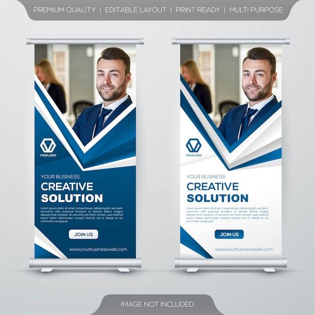 Oprollen stand banner sjabloon Premium Vector