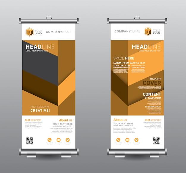 Oprollen van banner standee business sjabloonontwerp. Premium Vector