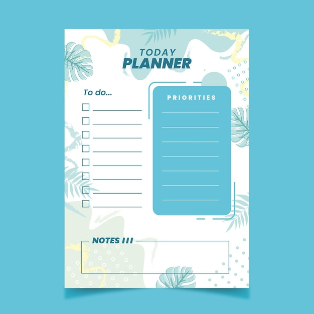 Opsommingsteken dagboek planner sjabloon met bladeren Premium Vector