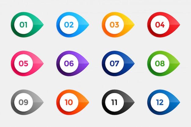 Opsommingstekens van één tot twaalf in vele kleuren Gratis Vector