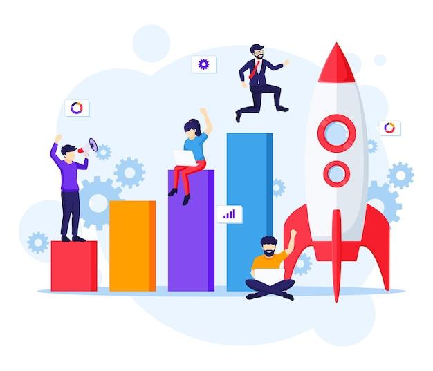 Opstarten bedrijfsconcept, zakenman loopt naar raket en omhoog naar hun doel illustratie Premium Vector