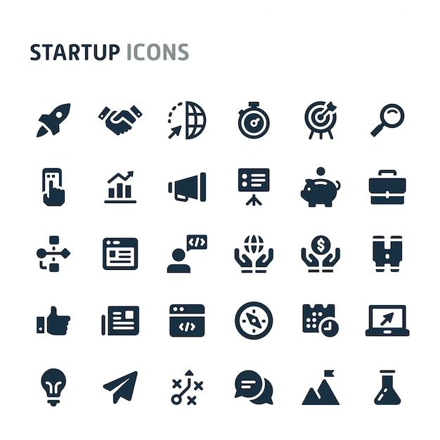 Opstarten icon set. fillio black icon-serie. Premium Vector