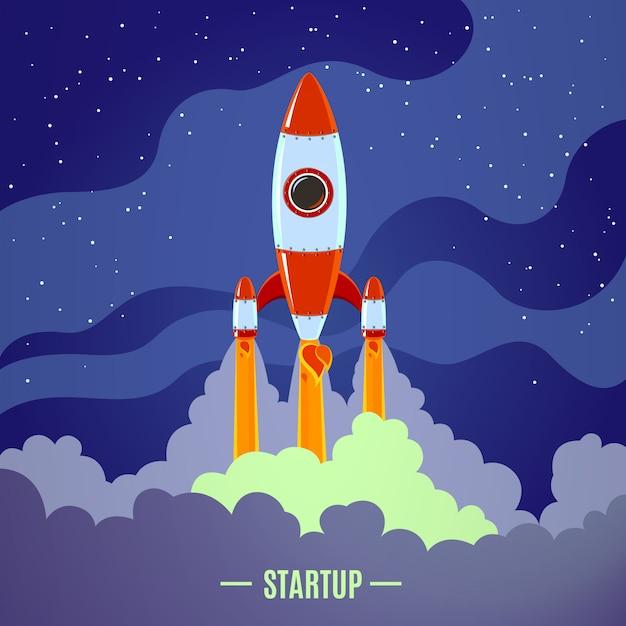 Opstarten raketlancering Gratis Vector