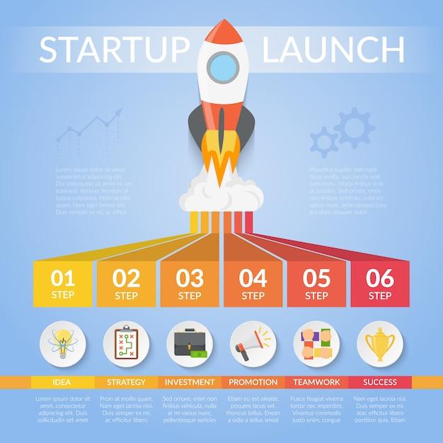 Opstarten start infographics Gratis Vector