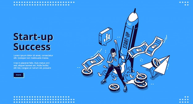 Opstarten succes banner. concept van succesvolle lancering en beheer van bedrijfsproject, groeibedrijf. Gratis Vector