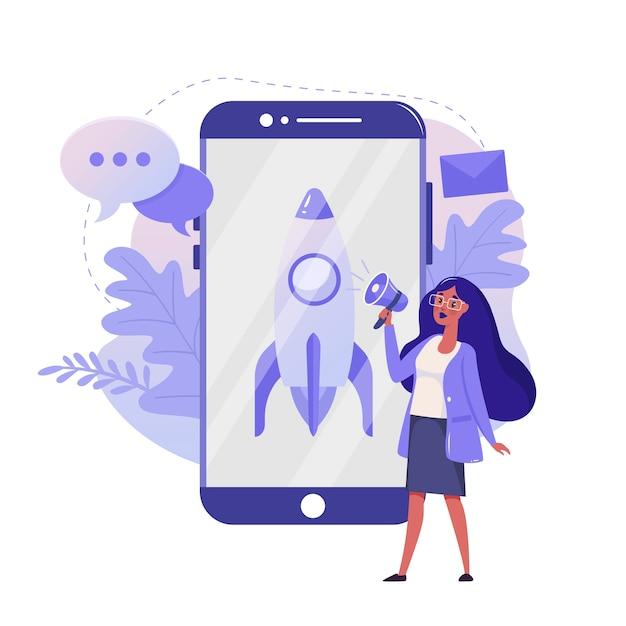 Opstarten van bedrijven en lancering van het project vlakke afbeelding. mobiel zakelijk kleurontwerp. vrouw met smartphone en rocket kleurrijk concept, geïsoleerd op een witte achtergrond. Premium Vector