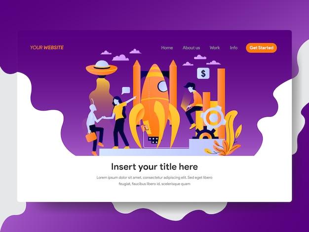 Opstartillustratie voor webpagina Premium Vector