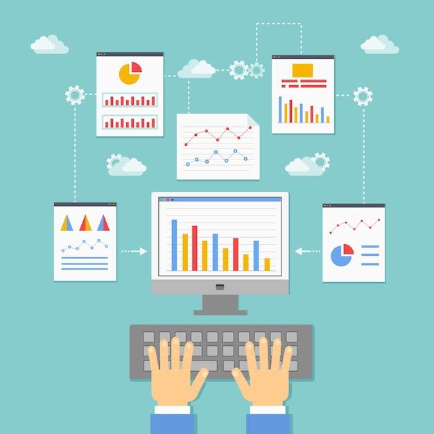 Optimalisatie, programmering en analyse van webtoepassingen vectorillustratie Gratis Vector