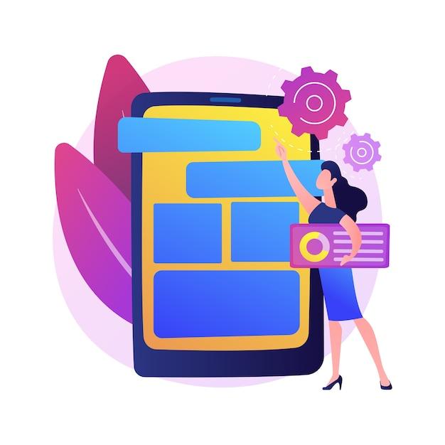 Optimalisatie van mobiele software, ui, ux-ontwikkeling. smartphone-app-interface ontwerpen. devops, vrouw die applicatie voor moderne gadget maakt. Gratis Vector